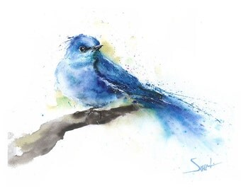 BLUEBIRD ART PRINT - mountain bluebird print, bluebird painting, bluebird decor, bluebird lover, bluebird wall art, watercolor bird painting