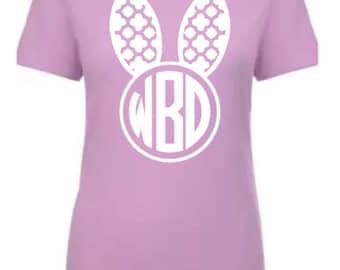 Bunny shirt, Easter tee, monogram bunny shirt, womens Easter shirt, Easter shirt for women, monogram short sleeve tee, monogram shirts