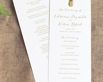 Watercolor Pineapple Wedding Wedding Program, Pineapple Wedding Program, Order of Service, Panel Style, Hawaiian Wedding Ceremony Program