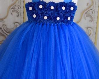 SALE!!  many colors available-Horizon royal blue  shabby chic flower girl tutu dress