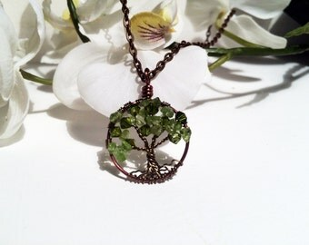 Evergreen Tree of Life Pendant Peridot Gemstones and Swarovski Crystals Minimalist Jewelry Tree of Life Necklace Wire Wrapped Trees