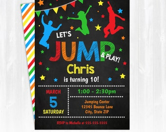 Jump Invitation - Bounce House Birthday Invitation - Jump Party Invitation - INSTANT DOWNLOAD! Edit at home NOW! Bounce Birthday Party