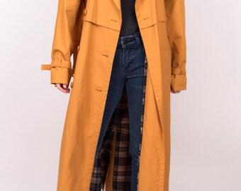 Vintage 80s mustard yellow trench coat / oversized trench coat / classic trench coat / wrap jacket coat / rain coat / spy coat