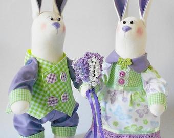 Wedding rabbits Stuffed rabbits Couple Wedding gift Cotton rabbits Decoration Handmade Weddings Toys by Master Oksana Ponomarenko