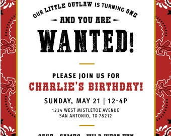 Little Outlaw Birthday Invitation