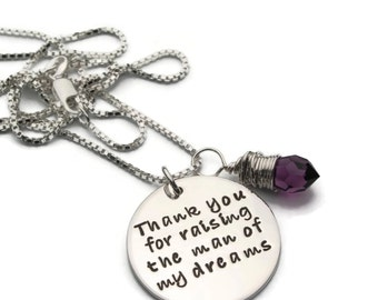 Mother of Groom Necklace, Thank You For Raising, Mother of the Groom Gift, Mother in Law Gift, Mother of Groom Gift, Man of My Dreams
