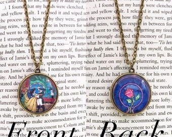 Handmade Beauty and the Beast Necklace, Double Sided Stained Glass, Belle, Enchanted Rose Necklace // Disney Necklace