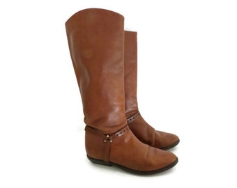 Etienne Aigner Boots Size 5.5 6 Brown Leather Flat Riding Shoes 1980s 80s