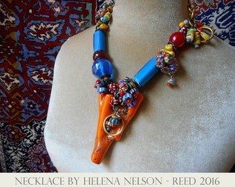 Gobsmacker coral branch and Nueva Cadiz collector beads art to wear necklace One of a kind