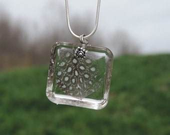 Guinea Feather Resin Square Pendant Necklace
