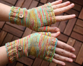 Fingerless mittens, handknit fingerless gloves, pure soft merino wrist warmers, one-of-a-kind fine for her or him