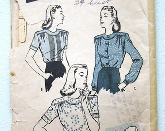 """Vintage 40s Tucked Blouse. Butterick 3354 Bust 34"""""""