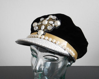90s vintage hat - black velvet gold white pearl cap - 90s Cache hat