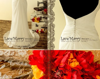 Light Summer Wedding Dress from Folded Silk Chiffon with Sweetheart Neckline - Strapless Chiffon Wedding Dress - Beach Wedding Dress
