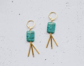 Brass Turquoise Chryopras Earrings