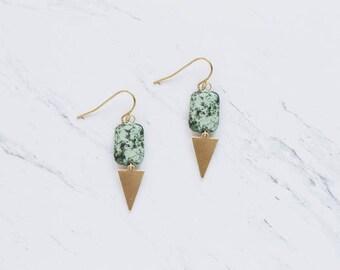 Turquoise Arrow Triangle Brass Earrings