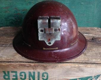 Vintage miners helmet / vintage safety helmet / fiberglass helmet