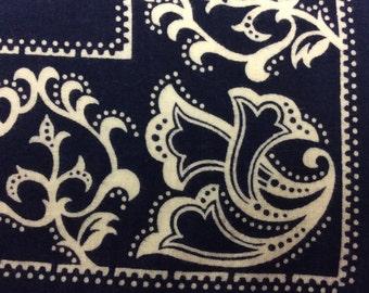 Vintage Elephant Bandana Trunk Down Handkerchief Blue Floral Paisley Print Fast Color Two Selvedges