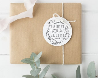 "Wedding Favor Stamp with Rustic Wreath - Custom Wedding Rubber Stamp - Wedding Invitations Stamp - 2"" x 2"" - Laurel"