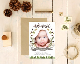 Woodland Birth Announcements for a Baby Boy - Rustic Trees Forest Calligraphy Baby Announcements with Large Photo