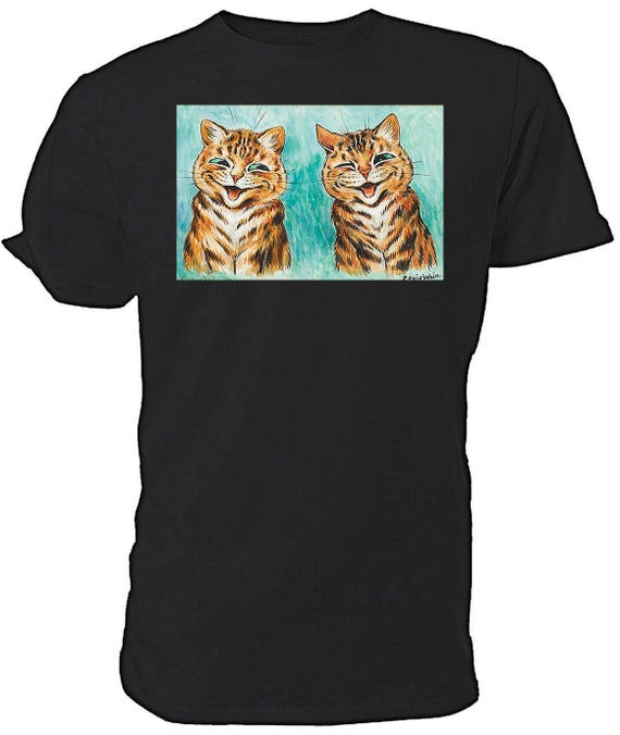 Louis Wain Laughing Cats T shirt. classic round neck short sleeved choice of sizes and colours,