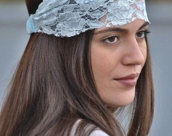 Lace Headband, Baby Blue Headband, Bohemian Headband, Elegant Turban, Bridesmaid Headband, Womens Turban, Womens Headband, Vintage Headband