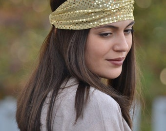 Gold Headband, Jersey Headband, Gold Turban Adult, Head Wrap, Gold Headbands, Wide Headband, Womens Turban, Turban Headband, Womens Headband
