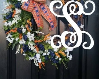 Grapevine Wreath Personalized Monogram Initial Wedding Decor Auburn University Blue Orange Burlap Chevron Ribbon Spring Summer Year Round
