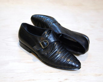 1980's Charles David black leather monk strap shoes • size 7.5/8 medium