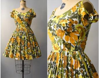1960's cutout shoulders botanical floral dress • xs
