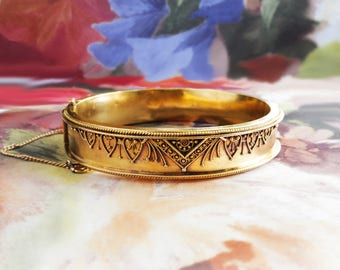"""Antique Victorian 1850's Etruscan Revival Cuff Bracelet Hinged 18k Yellow Gold 5.75"""" Inch Wrist"""