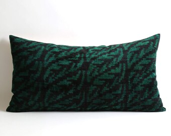 Throw Pillow floral Velvet Ikat Pillow Cover 14x26 Ikat bedding southwestern pillow couch pillows green black ethnic pillow designer cushion