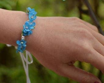 Blue flower wedding bracelet, forget me not bracelet, bridal bracelet, blue wedding jewelry, rhinestone bracelet