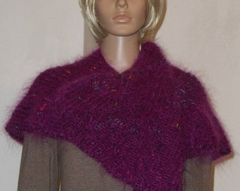 Knitted fluffy scarf in red-violet with variegated irregular axe on yarn with shine and a wood cloth pin