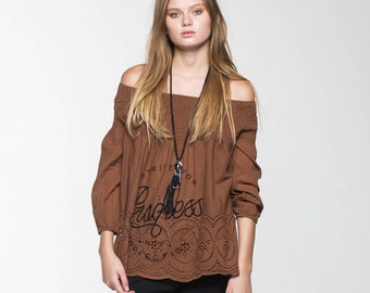 ON SALE  Brown Off Shoulder top - PERFECTION
