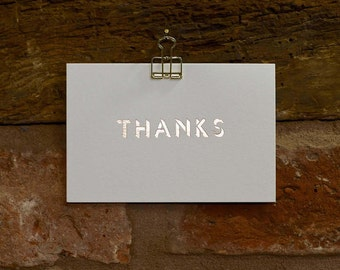 Thanks! Hand foiled letterpress Thank You card