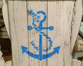 Anchor sign white distressed reclaimed wood pallet nautical beach house stenciled chalk paint with rope