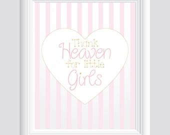 Thank Heaven for Little Girls Pink and Gold Heart Baby Girl Nursery Wall Art Decor Print 11x14 Digital Download