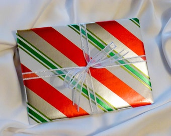 Holiday Gift Wrapping Service ~ Christmas Gift Wrap ~ Candy Cane Wrap, Red Green Silver Foil Wrapping Paper, Sparkling Gift Tag, Add On Item