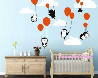 Penguins Penguin Cloud Balloon Wall Decal, Wall Decals Nursery, Baby Wall  Decal, Kids Part 40