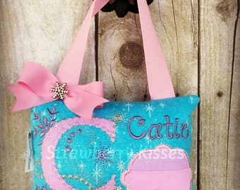Girls Tooth Fairy Pillow - Frozen Winter Snowflakes Version
