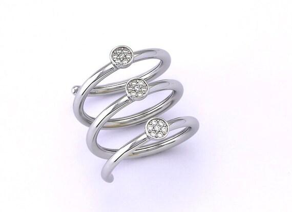 Sterling silver zircon ring, 3 round pattern silver 925 zircon ring, fashion ring, statement ring, gift
