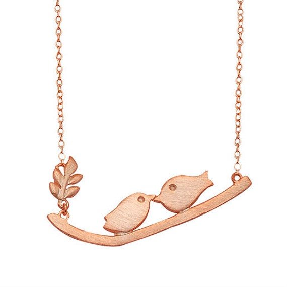 Love necklace, Bird necklace, love birds silver 925 rose gold plated necklace, couple's necklace, loving birds, gift for her