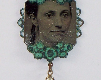 Georgina Antique Tin Type Photo Necklace