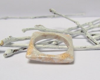 Comfortable thin ring White gold rings Resin rings Tiny ring Pretty ring Delicate ring her Ivory ring Wedding bridal jewelry Eco square ring