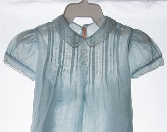 Vintage Blue Batiste Baby Dress, 1950's Embroidered Baby Dress