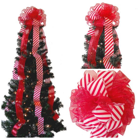 Candy Cane Tree Topper-Red and White-Christmas Decorations-Red Sparkle Mesh-Tree Topper Bow ...
