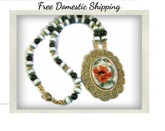 Large Pendant Necklace, Glass Bead Necklace, Cathedral Czech Bead Jewelry, Art Deco Long Necklace, Upcycled Jewelry, Free US Shipping