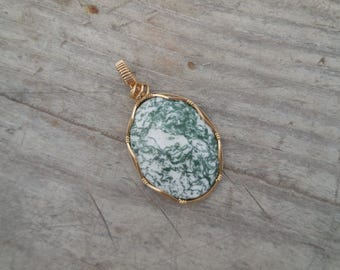 Tree Agate/Green and White/Handmade and Wrapped in 14k Gold Wire