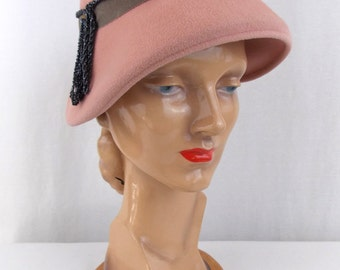 Vintage Pale Pink Cloche Hat with Beaded Cord